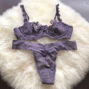 NWT Victoria's Secret purple bra thong panty set